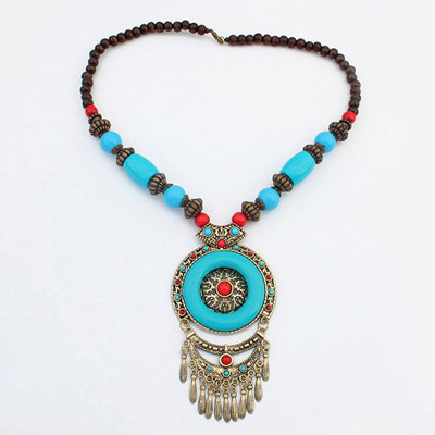 Direct Blue Round Pendant Decorated Tassel Design Alloy Beaded Necklaces