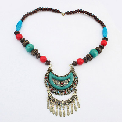 Smart Blue Hollow Outmoon Decorated Tassel Design Alloy Bib Necklaces