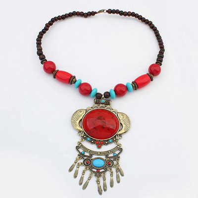Lovely Red Fish Decorated Tassel Design Alloy Bib Necklaces