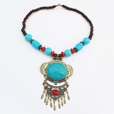 Scrabble Blue Fish Decorated Tassel Design Alloy Bib Necklaces