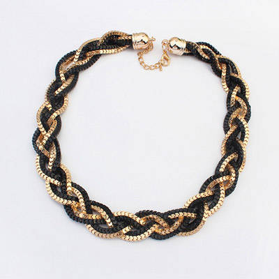 Madewell Gold Color & Black hollow out weave simple design Alloy Chains