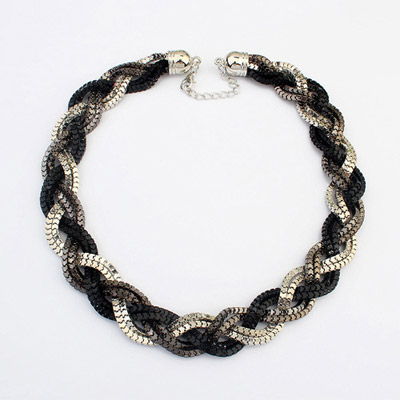 Luxury Silver Color & Black hollow out weave simple design