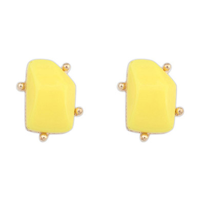 Players Yellow Irregular Gemstone Shape Design Alloy Stud Earrings