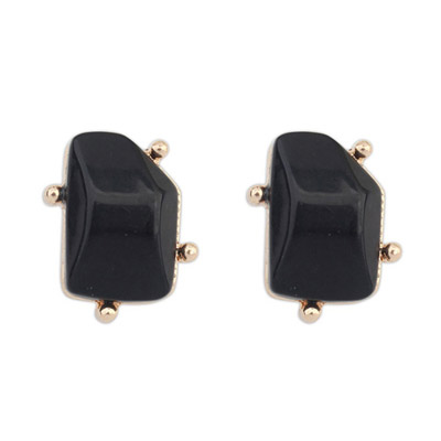 Waxing Black Irregular Gemstone Shape Design Alloy Stud Earrings