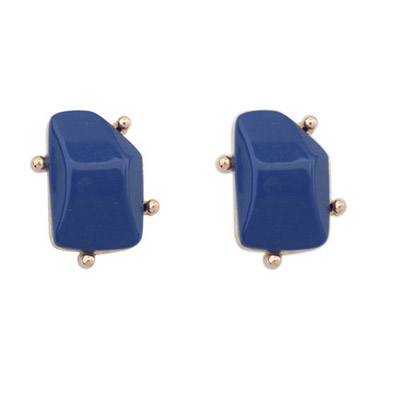 Shining Sapphire Blue Irregular Gemstone Shape Design Alloy Stud Earrings