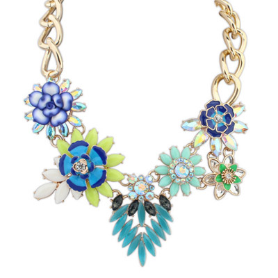 Fitness Blue Diamond Decorated Flower Design Alloy Bib Necklaces