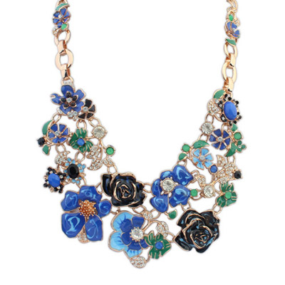 Metallic Blue Flower Decorated Simple Design Alloy Bib Necklaces