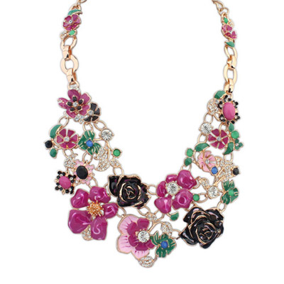 Padded Purple Red Flower Decorated Simple Design Alloy Bib Necklaces