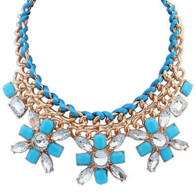 Letterhead Blue Gemstone Decorated Flower Weave Design Alloy Bib Necklaces