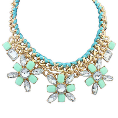 Graduation Green Gemstone Decorated Flower Weave Design Alloy Bib Necklaces