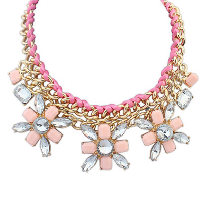 Business Pink Gemstone Decorated Flower Weave Design Alloy Bib Necklaces