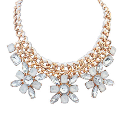 Reflective White Gemstone Decorated Flower Weave Design Alloy Bib Necklaces