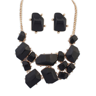 Chiropract Black Gemstone Decorated Irregular Shape Design Alloy Jewelry Sets