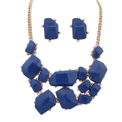 Statement Sapphire Blue Gemstone Decorated Irregular Shape Design Alloy Jewelry Sets