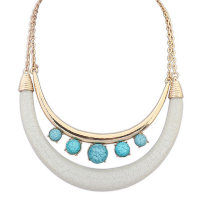 Limited Blue & White Gemstone Decorated Double Layer Design Alloy Bib Necklaces