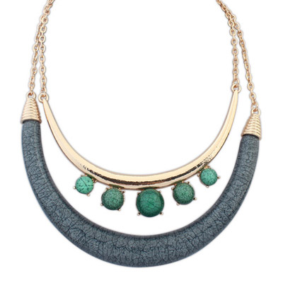 2013 Green & Gray Gemstone Decorated Double Layer Design Alloy Bib Necklaces