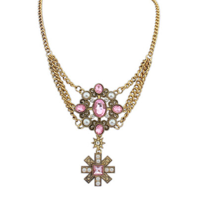 Toddler Pink Gemstone Decorated Flower Pendant Design Alloy Bib Necklaces