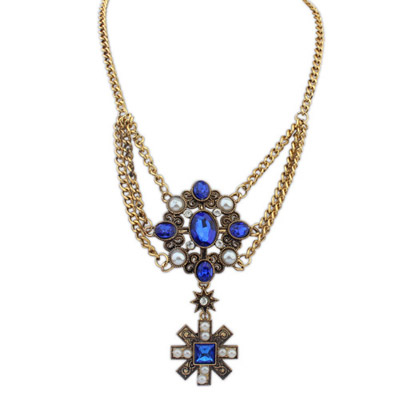 Writing Blue Gemstone Decorated Flower Pendant Design Alloy Bib Necklaces