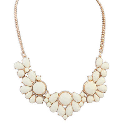 Asian Beige Gemstone Decorated Petals Design Alloy Bib Necklaces