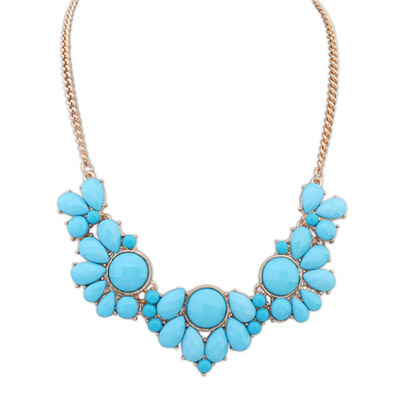 Sanctuary Blue Gemstone Decorated Petals Design Alloy Bib Necklaces