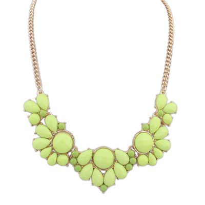 Oversized Yellow Gemstone Decorated Petals Design Alloy Bib Necklaces