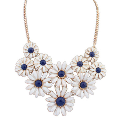 Micro Blue Flower Decorated Simple Design Alloy Bib Necklaces