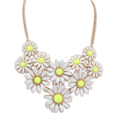 Casual Yellow Flower Decorated Simple Design Alloy Bib Necklaces
