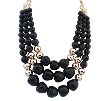 Sweet Black Big Beads Decorated Multilayer Design Alloy Beaded Necklaces