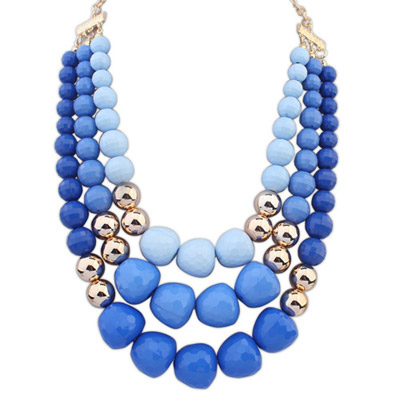 Nautical Blue Big Beads Decorated Multilayer Design Alloy Beaded Necklaces