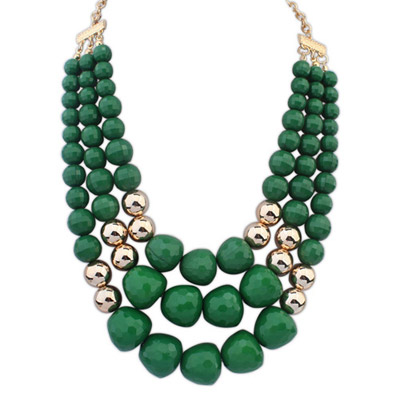 Quality Green Big Beads Decorated Multilayer Design Alloy Chains