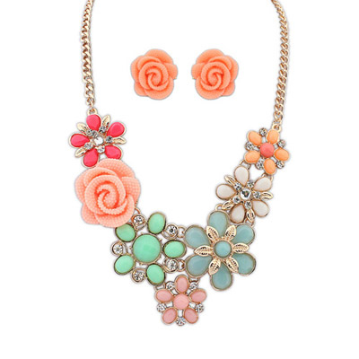Afrocentri Multicolor Flower Decorated Simple Design Alloy Jewelry Sets