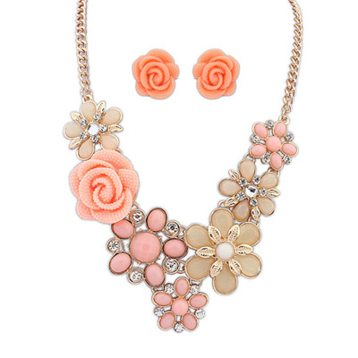 Light Pink Flower Decorated Simple Design Alloy Jewelry Sets