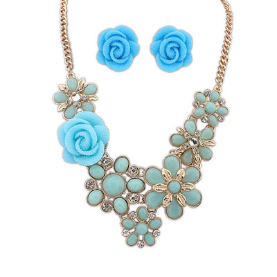 Simple Light Blue Flower Decorated Simple Design Alloy Jewelry Sets