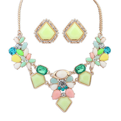 Seamless Multicolor Diamond Decorated Geometrical Shape Design Alloy Jewelry Sets