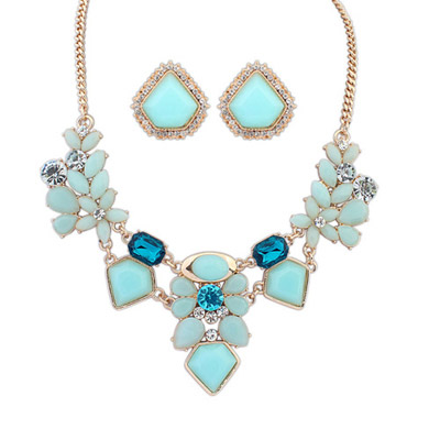 High Waist Light Blue Diamond Decorated Geometrical Shape Design Alloy Jewelry Sets