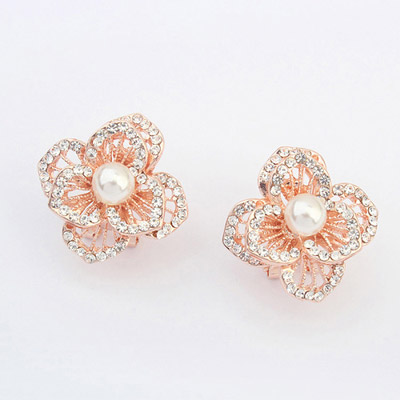 Luxurious White Pearl Decorated Flower Design Alloy Stud Earrings