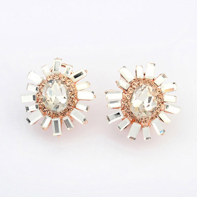 Smart White Diamond Decorated Flower Design Alloy Stud Earrings