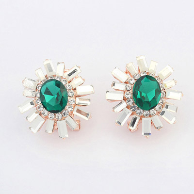 Squash Green Diamond Decorated Flower Design Alloy Stud Earrings