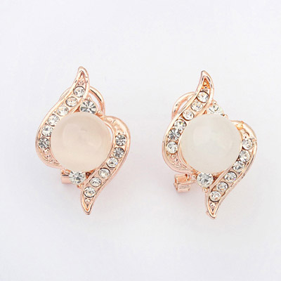 Renaissanc White Diamond Decorated Simple Design Alloy Stud Earrings
