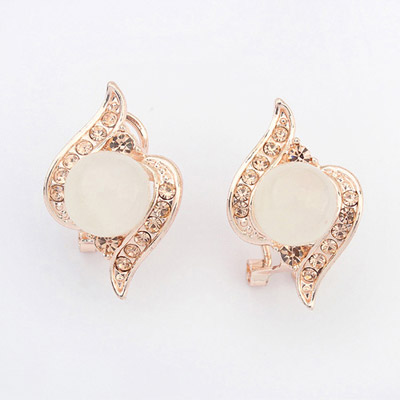 Best Peach Color Diamond Decorated Simple Design Alloy Stud Earrings
