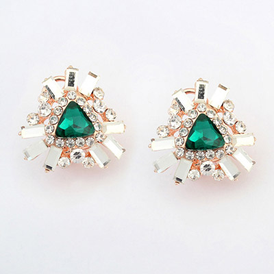 Expensive Green Diamond Decorated Triangle Shape Design Alloy Stud Earrings