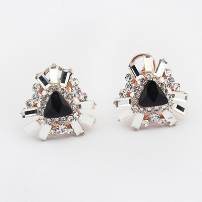 Named Black Diamond Decorated Triangle Shape Design Alloy Stud Earrings