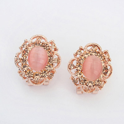 Hanging Pink Gemstone Decorated Flower Design Alloy Stud Earrings