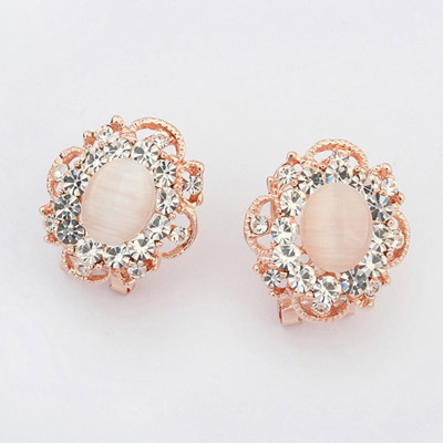 Cocktail White Gemstone Decorated Flower Design Alloy Stud Earrings