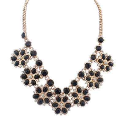Screw Black Gemstone Decorated Flower Design Alloy Bib Necklaces