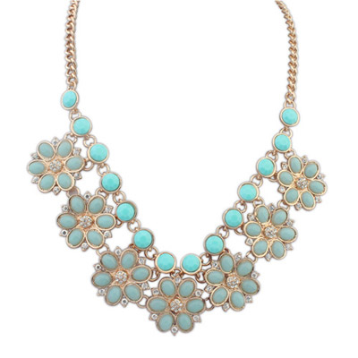 Screw Light Blue Gemstone Decorated Flower Design Alloy Bib Necklaces