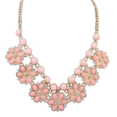 Christenin Pink Gemstone Decorated Flower Design Alloy Bib Necklaces