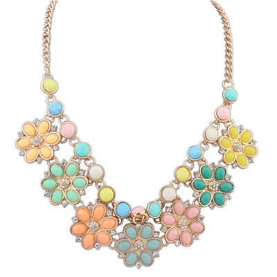Jockey Multicolor Gemstone Decorated Flower Design Alloy Bib Necklaces