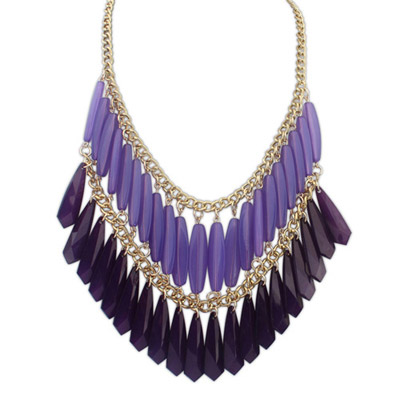Designs Purple Geometrical Shape Decorated Double-tassel Design Alloy Bib Necklaces