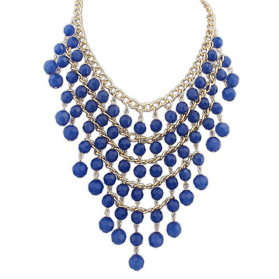Brown Blue Beads Decorated Multilayer Design Alloy Bib Necklaces